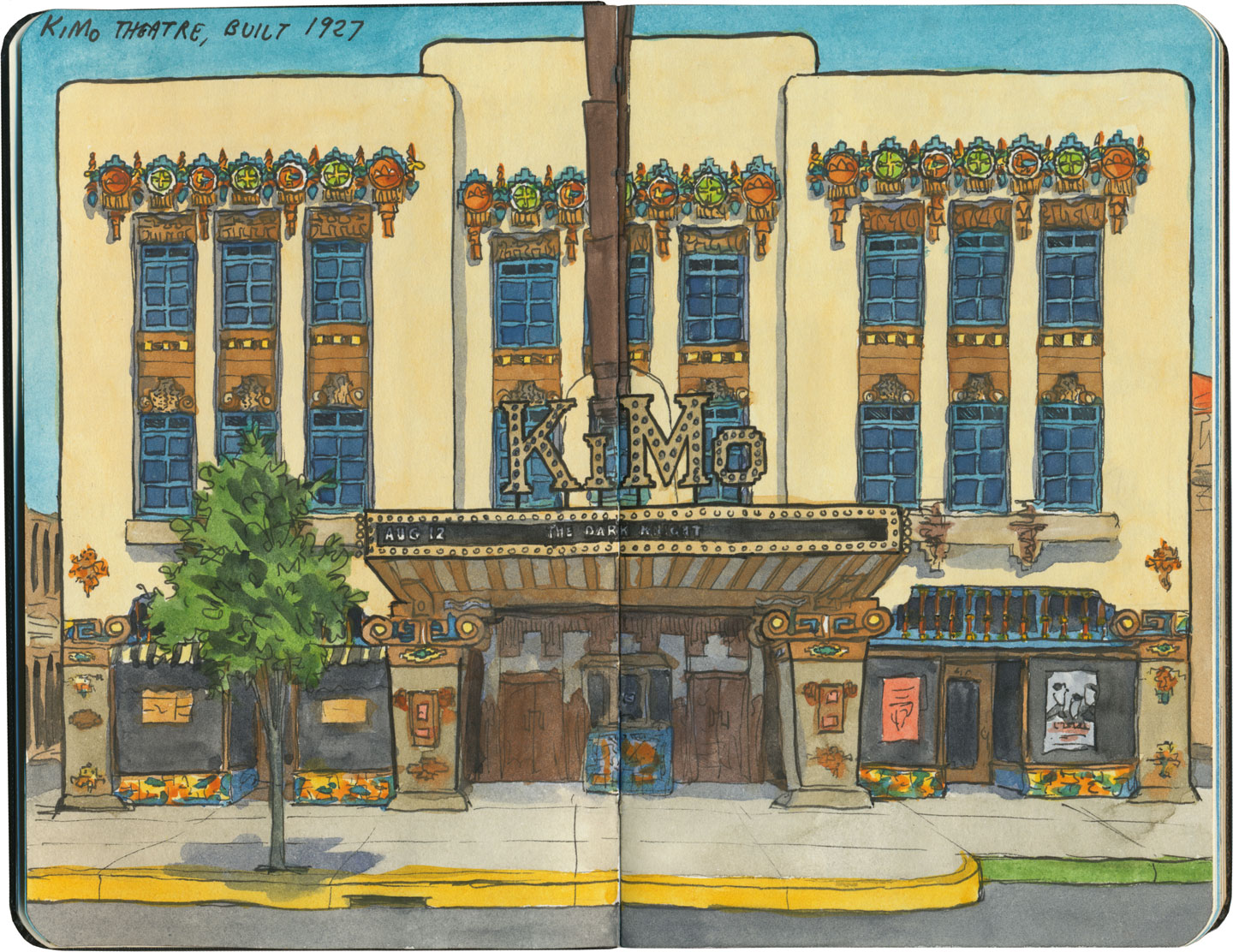 KiMo Theatre sketch by Chandler O'Leary