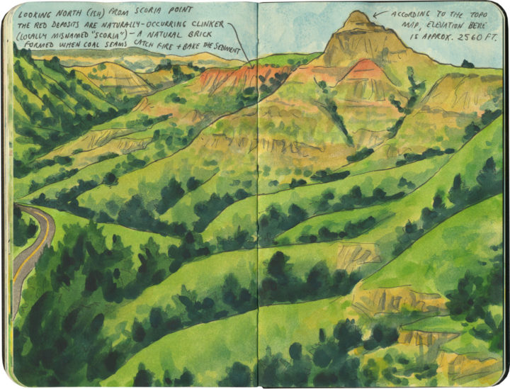 Theodore Roosevelt National Park sketch by Chandler O'Leary