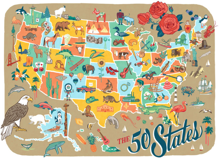 50 States pictorial map illustrated and hand-lettered by Chandler O'Leary