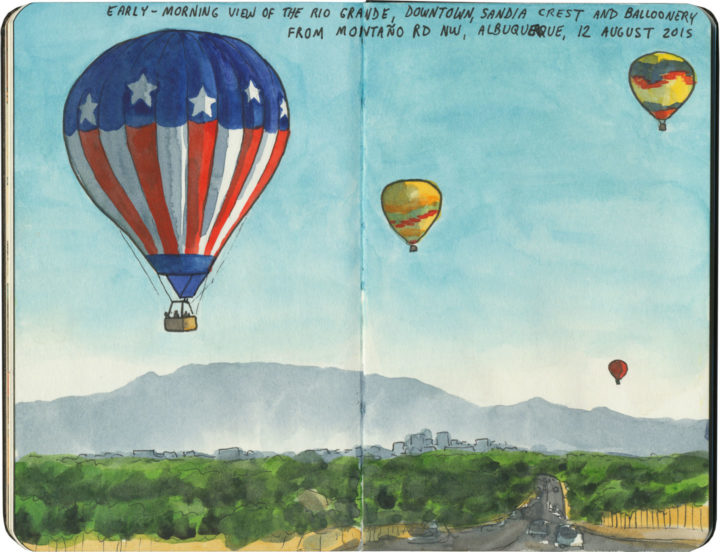 Albuquerque hot air balloons sketch by Chandler O'Leary