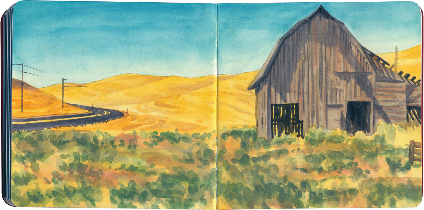 Palouse barn (autumn) sketch by Chandler O'Leary