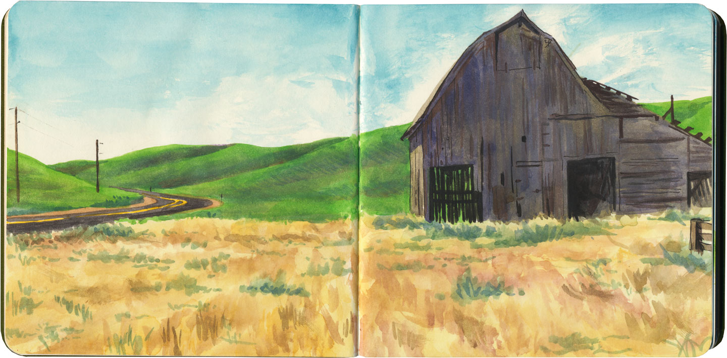 Palouse barn (spring) sketch by Chandler O'Leary
