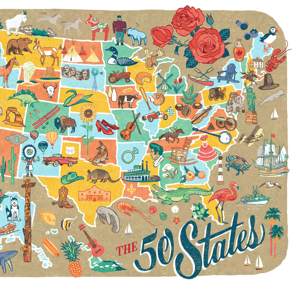 Map Of The  States World Map - Map of the 50 states of usa