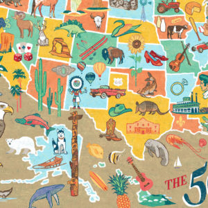Detail of 50 States Map illustration by Chandler O'Leary