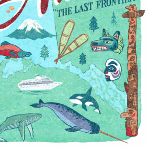 Detail of Alaska illustration by Chandler O'Leary