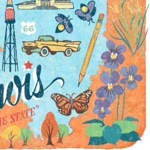 Detail of Illinois illustration by Chandler O'Leary