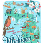 Detail of Michigan illustration by Chandler O'Leary