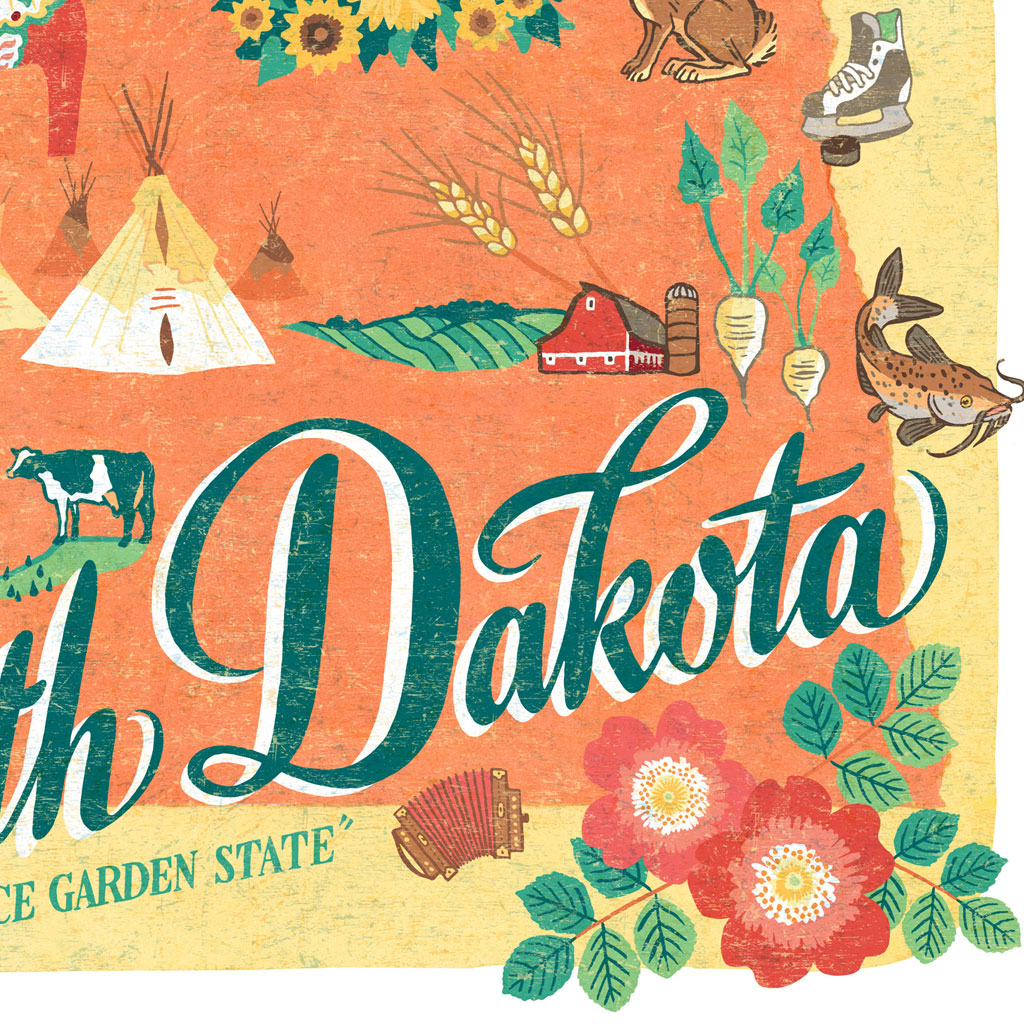 North Dakota print – Drawn the Road Again