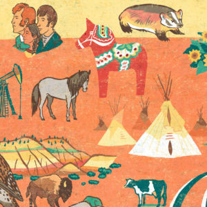 Detail of North Dakota illustration by Chandler O'Leary