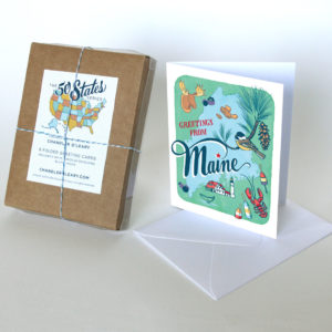 Maine card from the 50 States series illustrated and hand-lettered by Chandler O'Leary