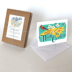 North Carolina card from the 50 States series illustrated and hand-lettered by Chandler O'Leary