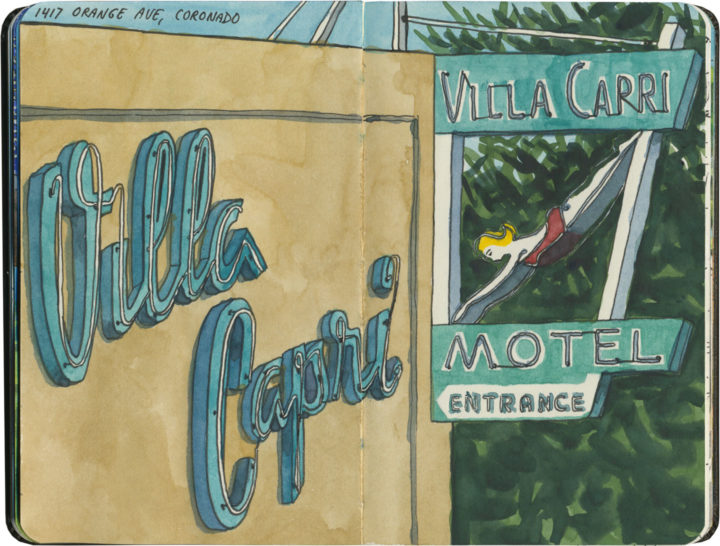 Villa Capri Motel sketch by Chandler O'Leary