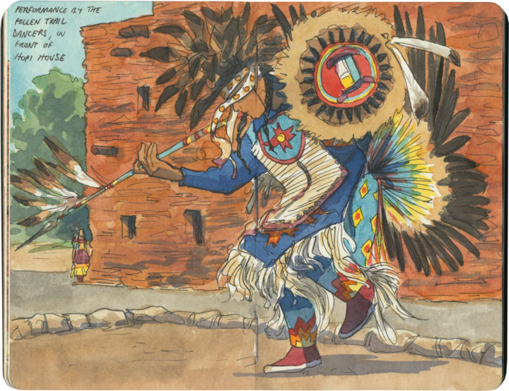 Navajo dancer sketch by Chandler O'Leary