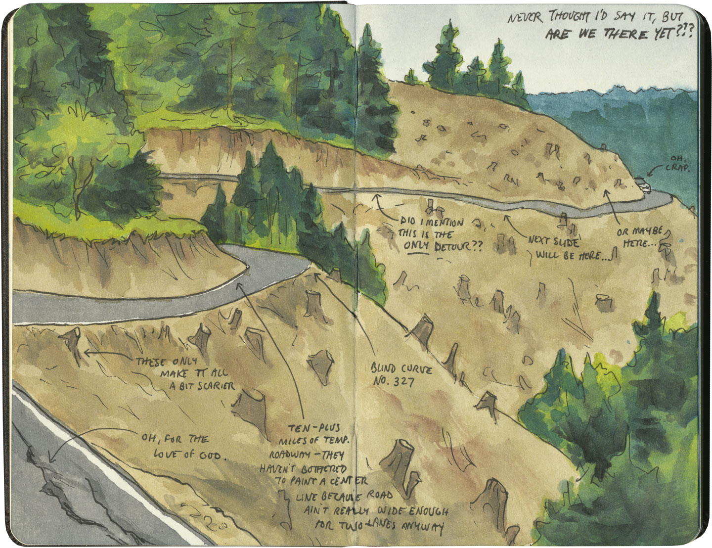 Landslide detour sketch by Chandler O'Leary