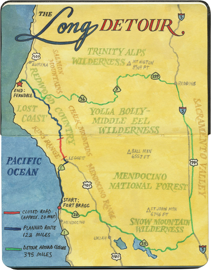 Landslide detour map sketch by Chandler O'Leary