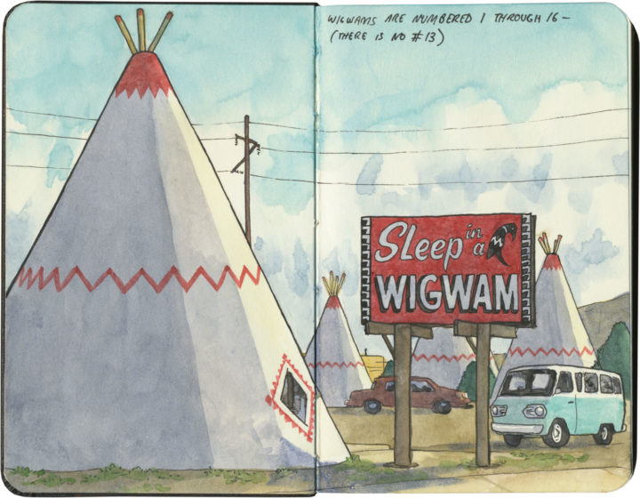 Wigwam Motel (Arizona) sketch by Chandler O'Leary