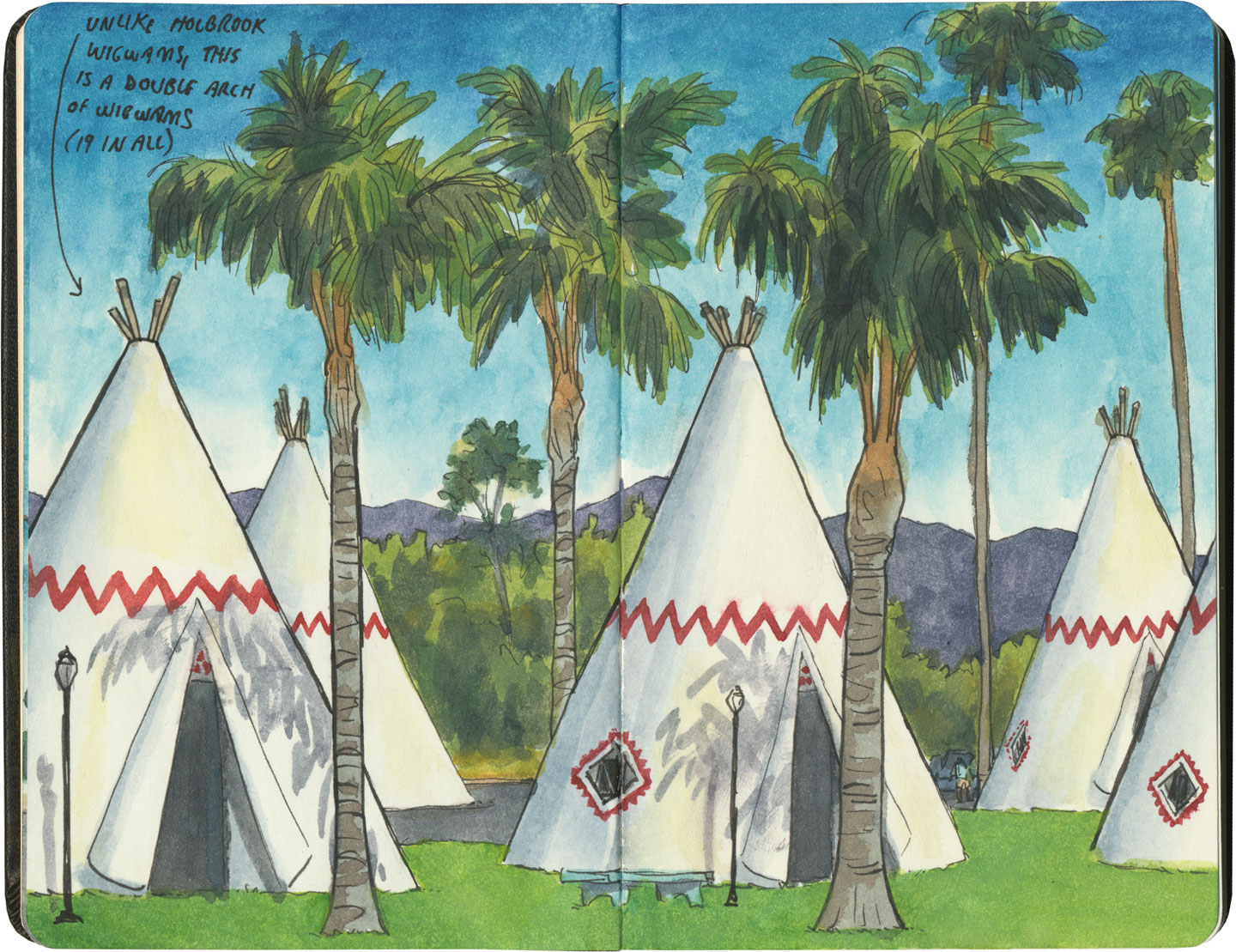 Wigwam Motel (California) sketch by Chandler O'Leary