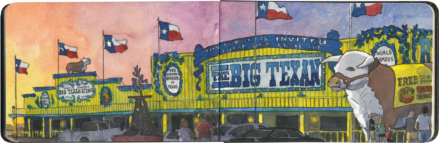 Big Texan sketch by Chandler O'Leary
