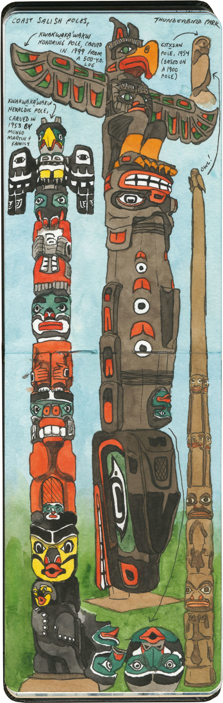 Victoria totem poles sketch by Chandler O'Leary
