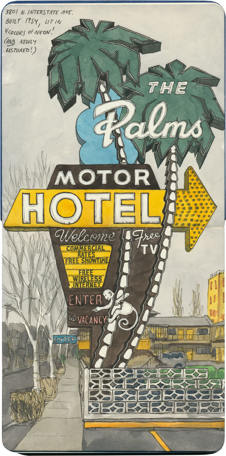 Palms Motel sketch by Chandler O'Leary