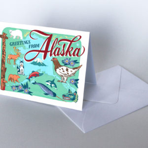 Alaska card from the 50 States series illustrated and hand-lettered by Chandler O'Leary