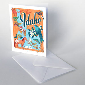 Idaho card from the 50 States series illustrated and hand-lettered by Chandler O'Leary