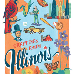 Illinois card from the 50 States series illustrated and hand-lettered by Chandler O'Leary