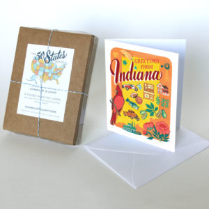 Indiana card from the 50 States series illustrated and hand-lettered by Chandler O'Leary