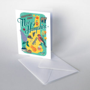 New Hampshire card from the 50 States series illustrated and hand-lettered by Chandler O'Leary