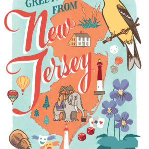 New Jersey card from the 50 States series illustrated and hand-lettered by Chandler O'Leary