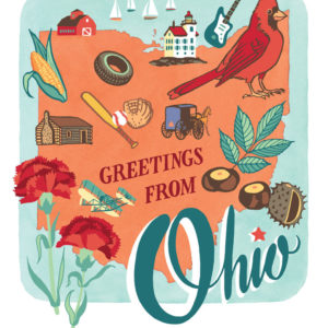 Ohio card from the 50 States series illustrated and hand-lettered by Chandler O'Leary