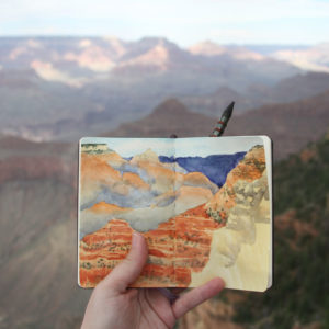 Process photo of Grand Canyon sketch by Chandler O'Leary