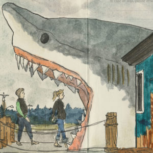 Roadside Shark sketchbook print by Chandler O'Leary