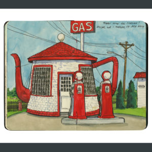 Teapot Gas Station sketchbook print by Chandler O'Leary