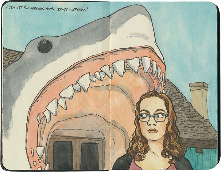Shark selfie sketchbook illustration by Chandler O'Leary
